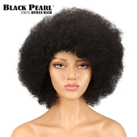 Black Pearl Afro Kinky Curly Wig Remy Human Hair Wigs For Women Brazilian Short Wig 99J 2# Color Free Shipping