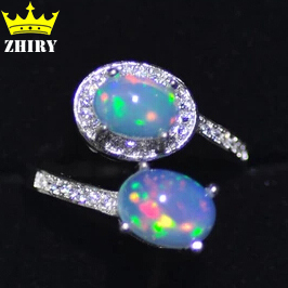 Genuine Opal ring Fire stone Solid 925 sterling silver natural gem Platinum plated woman rings fine jewelry