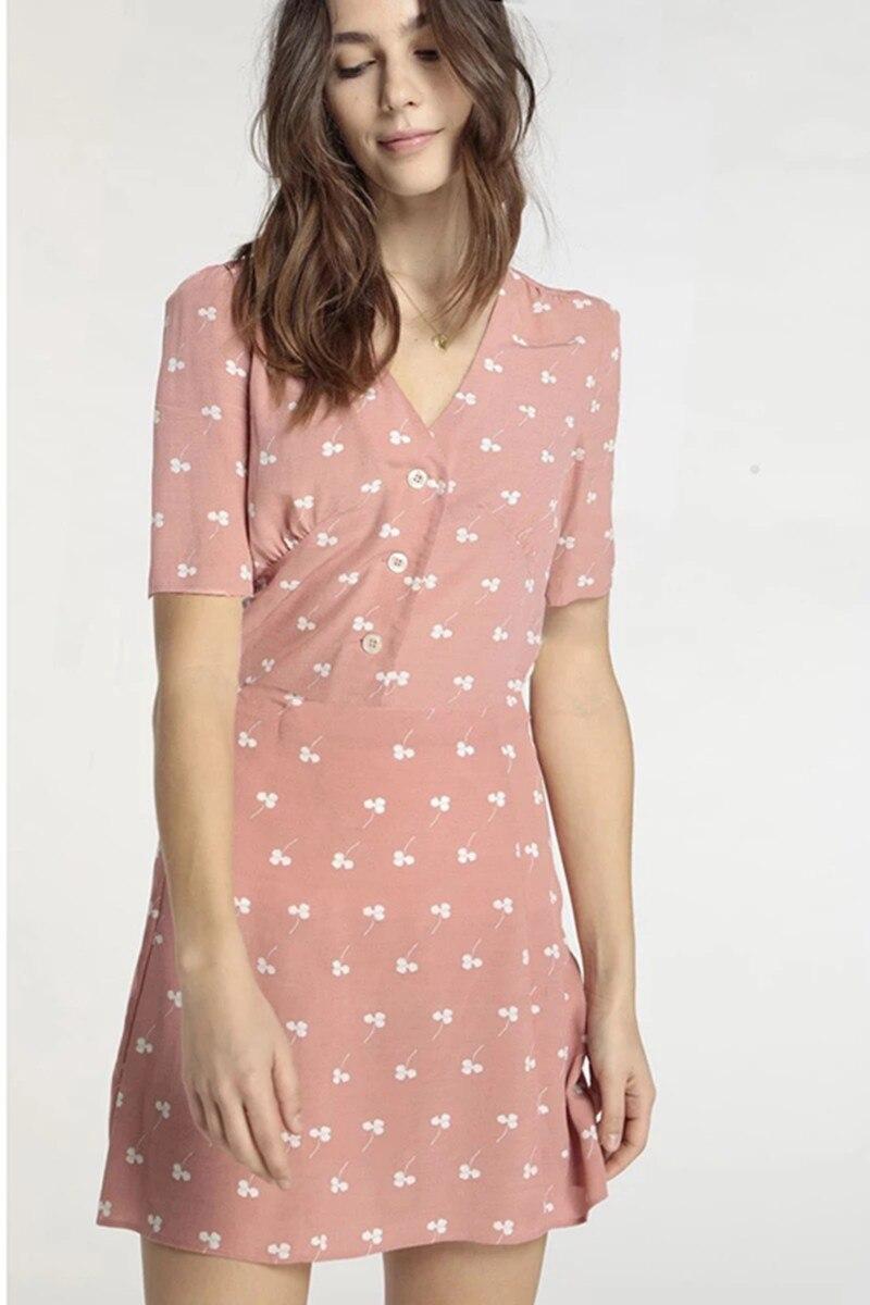 Women Short Sleeve Front Buttons V Neck Clover Print Soft Viscose Sweet Summer Mini Dress Blue