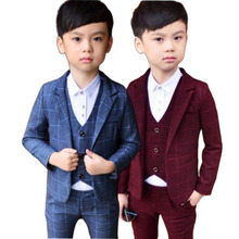 2019 New Formal High Quality Spring and Autumn Boys Tuxedo Blazer Suits Gentlemens Casual Costume 3pcs (Vest + Blazers Pants)