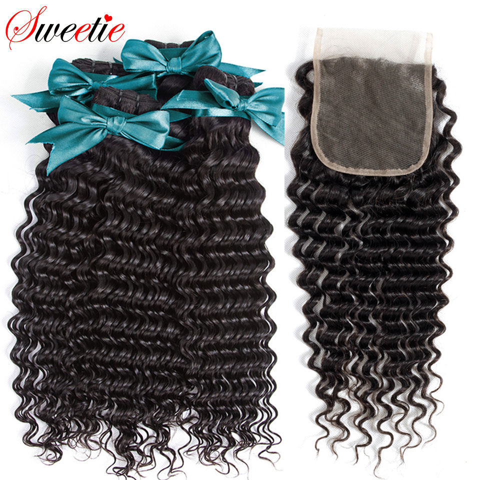 Sweetie Malaysian Hair Bundles With Closure 3 Bundle With Lace Closure Non Remy Human Hair Weave
