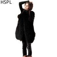 HSPL 2017 Women Real Fur Coat Genuine Mongolia lamb Natural Fur Vest Autumn Tibet Fur Vest