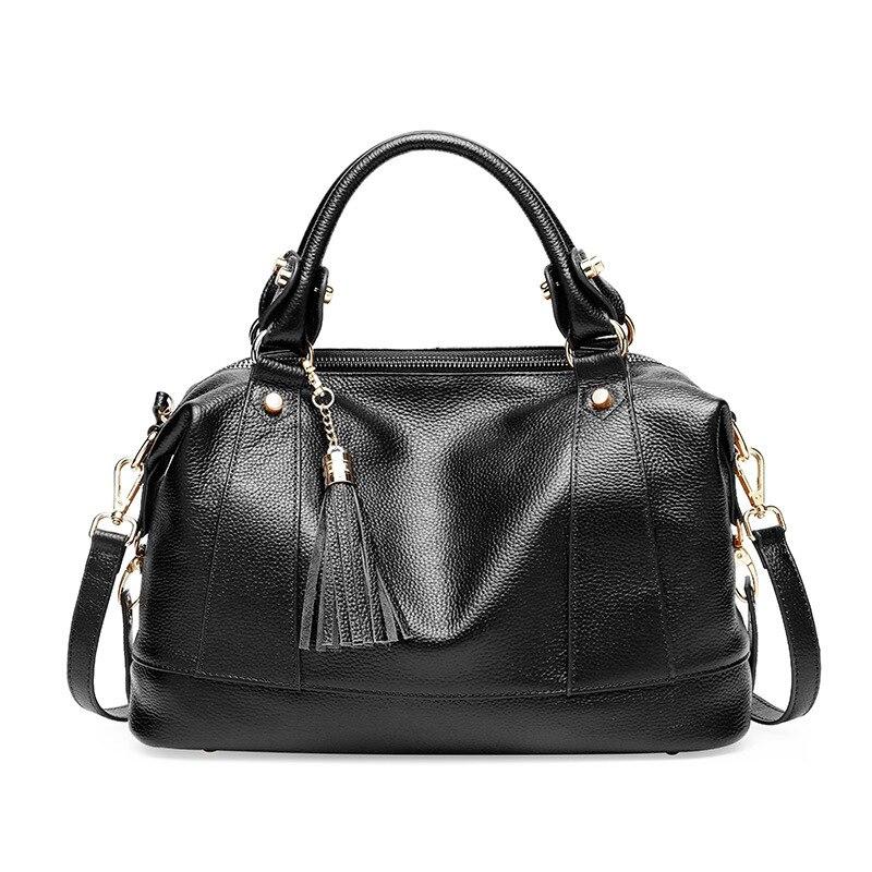 Sac à bandoulière Messenger de luxe pour femme sacs à bandoulière d'été pour femme sacs à main et sacs à main en cuir véritable sac fourre tout noir gland 2019 - 5