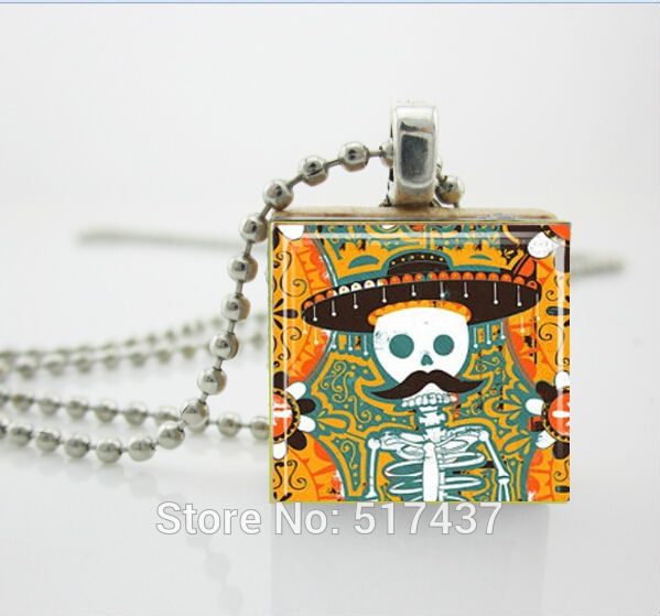 Sugar Skull Necklace Sugar Skull with Mustache Mexican D of the Dead Jewelry Scrabble Tile Pendant ,Scrabble Jewery