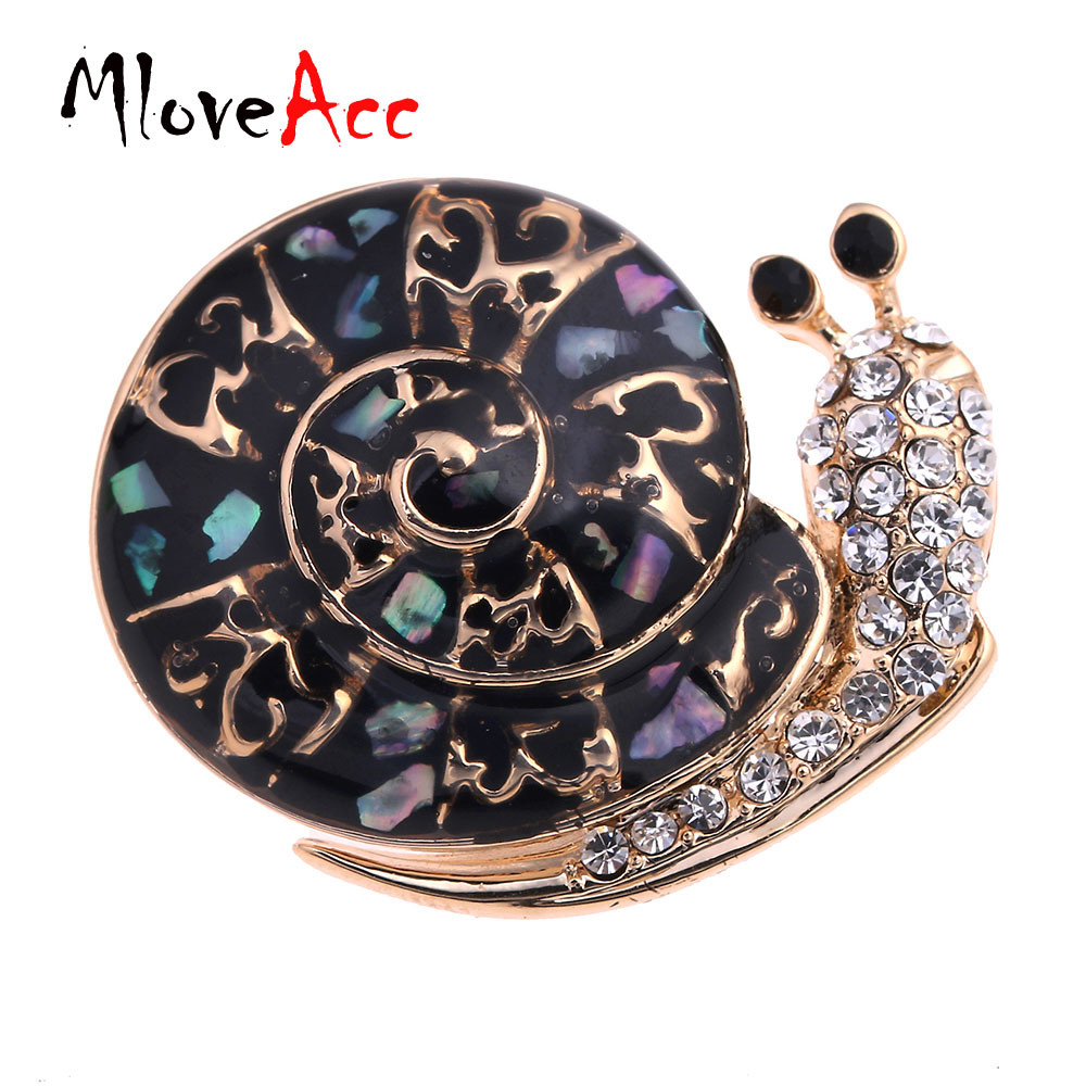 Mloveacc Official Store MloveAcc New Style Kawaii Snail Crystal Brooches Gold Color Black Shell Zirconia Brooch Women Hats Corsage Animal Pin