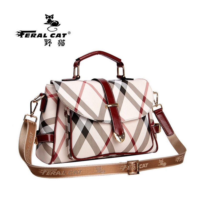 women's handbags vintage large bag ladies plaid messenger bags Female Crossbody Bags women Leather big size Shoulder bag totes feral cat women shoulder messenger bags 2017 pvc plaid ladies plaid clutch handbags vintage crossbody envelope bag female bolso