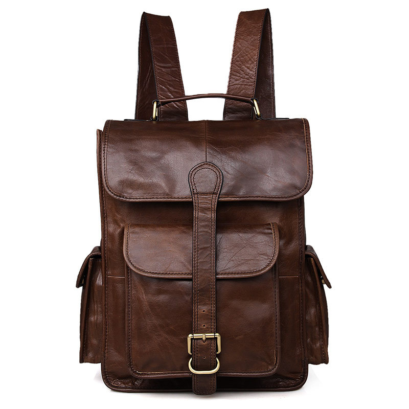 Backpacks Fashion Style Nesitu High Quality Large Capacity Brown Vintage Genuine Leather 14 Laptop Women Men Backpacks Real Skin Male Travel Bag M6356 Luggage & Bags