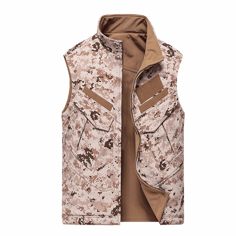 Camouflage Reversible Vest Sleeveless Jacket Coat Outdoor Hunting Fishing Sports Double Face Soft Shell Tactical Waistcoat