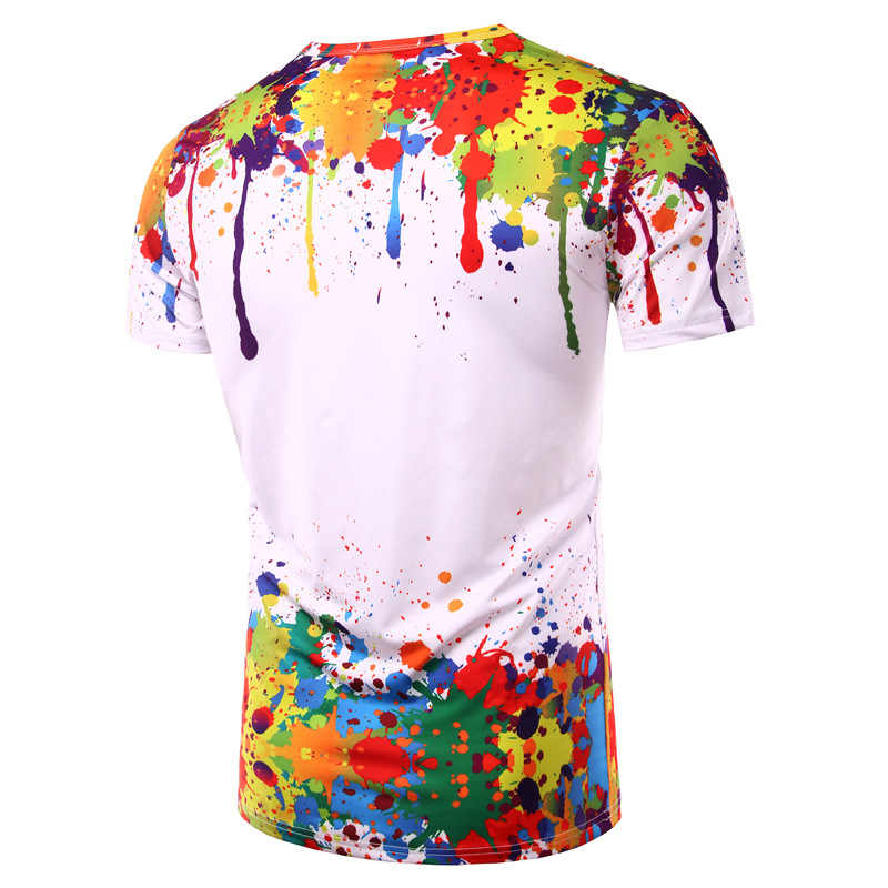 Splash Cat Atasan Musim Panas T Kemeja Pria Lengan Pendek Baru Dicetak 3D T-shirt 2017 Kepribadian Leher Bulat TEE Zootop Bear