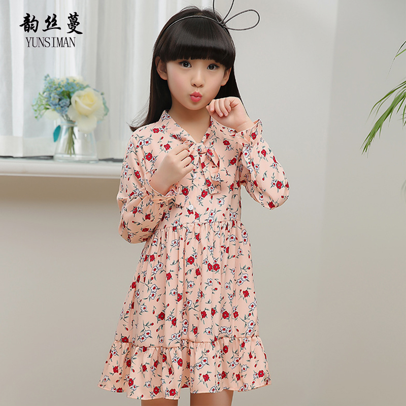Autumn Girls Clothes Dress Long Sleeve for 7 8 9 10 11 12 Years Kids Bow Flower Print Chiffon Cute Party Knee Dress Girls 50M11A letter print long sleeve sweatshirt dress page 8