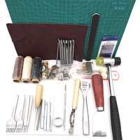 44pcs/lot Professional Leather Tools Set Thread Wax Line Punch Handmade Diy Hand Sewing Accessories