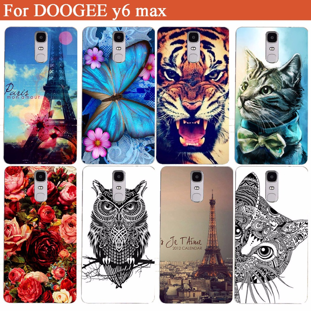 For DOOGEE Y6 MAX Case Cover 2017 New DIY Painting Colored Tiger Owl Rose Hard Plastic Case For DOOGEE Y6 MAX 6.5 Inch Phone Bag