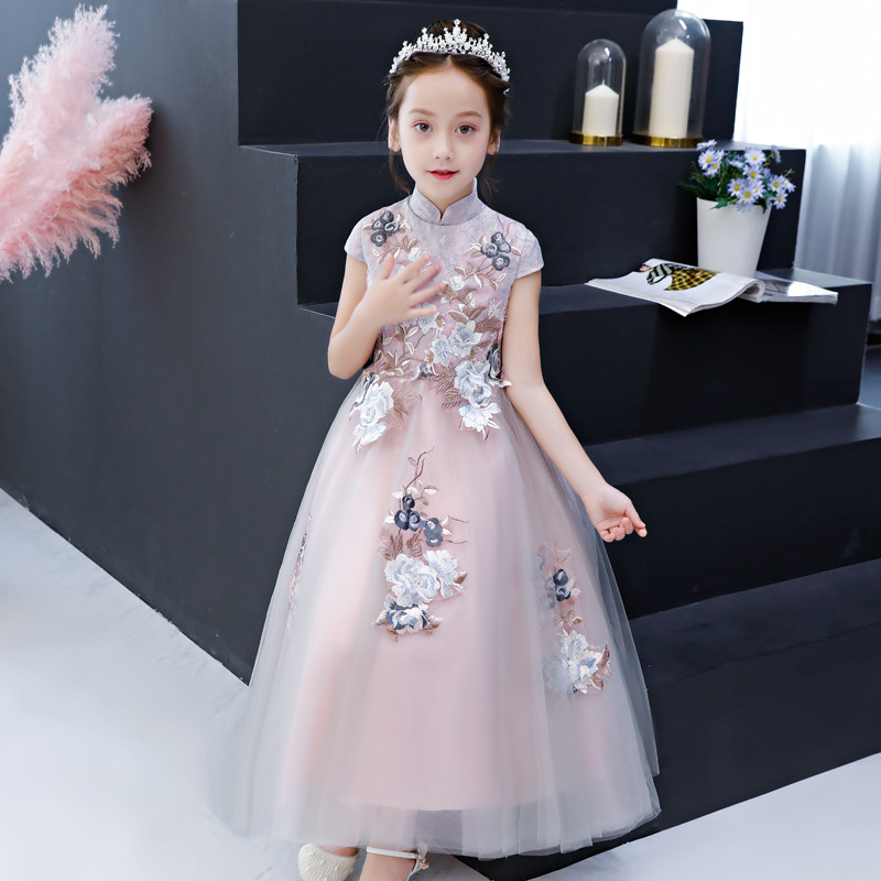 2018 Autumn Children girls Gorgeous Elegant Embroidery Flowers Birthday Party Lace Long Dress Toddler Host Piano Costume Dress цены онлайн