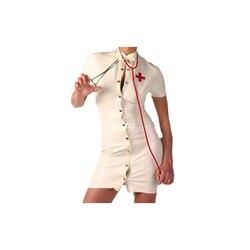 Látex De Borracha de Gummi Pouco Sexy Saia Enfermeira Fantasia Bola Masquerade Tamanho XXS-XXL