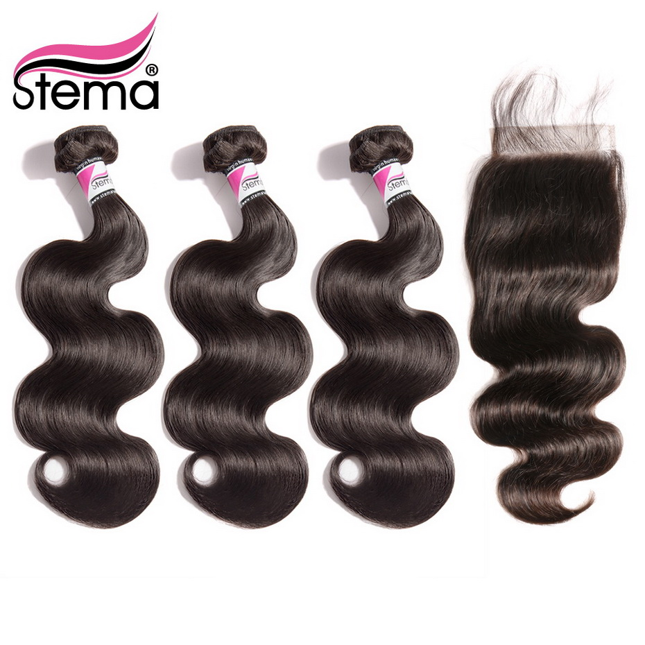 Stema Body Wave Hair Bundles With Closure Brazilian 3PCS Hair Weaves With 5x5 Lace Closure Remy