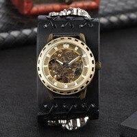 2019 mężczyzna zegarek automatyczny zegarek mechaniczny własnym wiatr szerokość skórzany pasek szkielet zegarki w stylu Punk reloj automatico de hombre w Zegarki mechaniczne od Zegarki na