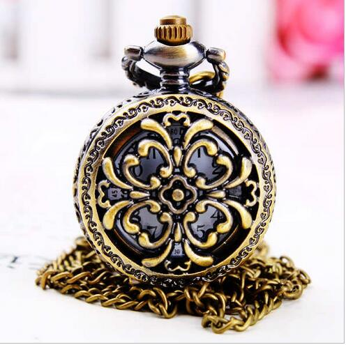 2020 Small Hollow Bronze Design Pocket Watch With Necklace Chain Gift To Men Women Free Shipping