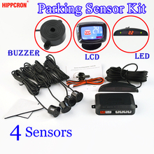 Kit sensor de estacionamento campainha/led/display lcd 4 sensores 22mm carro backup radar monitor sistema 12v 8 cores