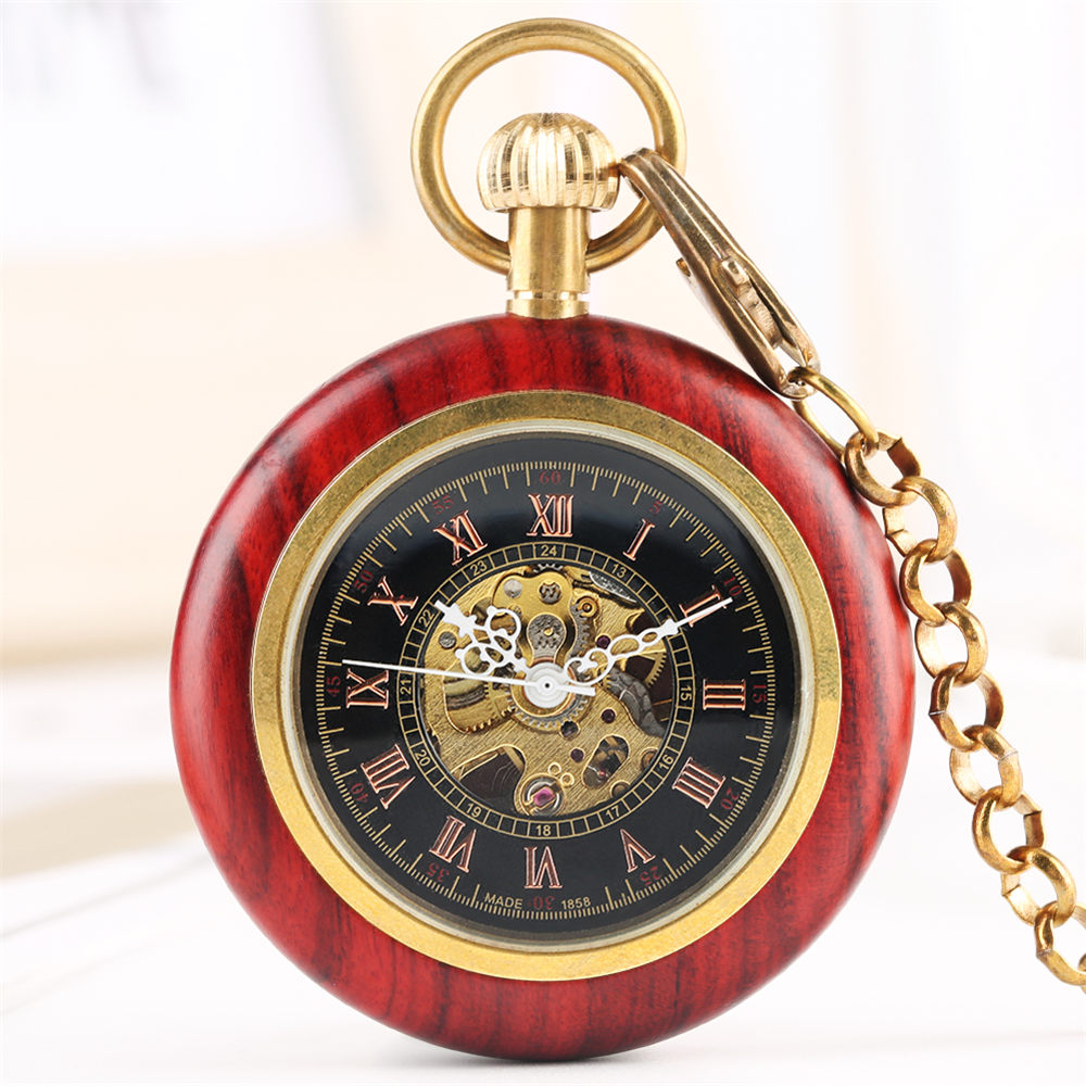 Mechanical Pocket Watch Men Women Tevise Skeleton Watches Red Wooden Frame Mechanical Pocket Watch Pocket Watches