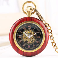 Mechanical Pocket Watch Men Women Tevise Skeleton Watches Red wooden frame Mechanical Pocket Watch Simple Casual Watch Pocket