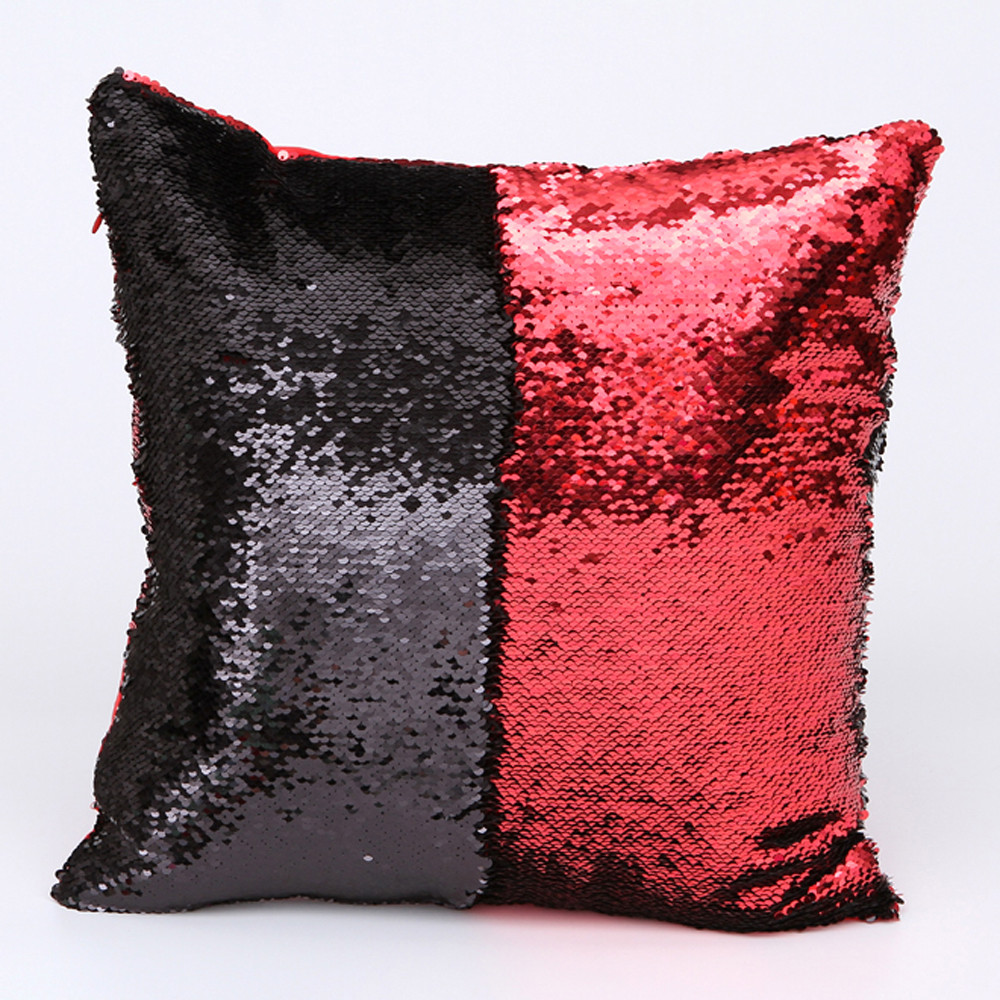 Image 3 - DIY Double Color Glitter fashion Sequins Throw Pillow Cover Sofa Bed Home Coffee Decoration 40cm*40cm Cushion Cover-in Cushion Cover from Home & Garden