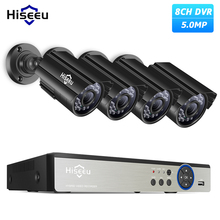 Hiseeu 8CH 5MP CCTV 카메라 시스템 DVR 4PCS 야외 방수 보안 카메라 주/밤 DIY 비디오 감시 시스템 키트