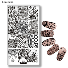 Nail Stamping Plates Lace Flower Nail Art Stamp Stamping Template Leaves Spider Web Pattern Image Plate Stencil Nails Tool C15 11pcs set diy nail art stamp plate stamping plates cases 10pcs steel nails image plates flower lace manicure template