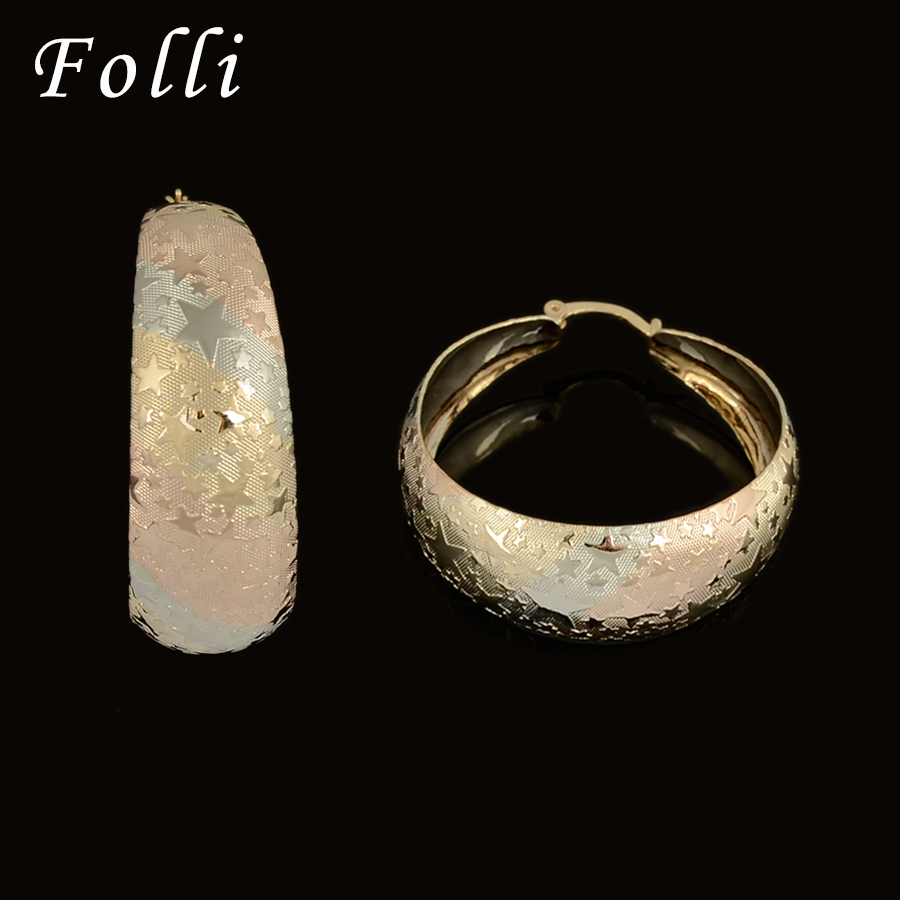 Whole 2017 New Hot S Tri Tone Italy Gold Color Earring Fashion Silver Rose Hoop For Women In Earrings From Jewelry Accessories