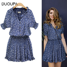 Duoupa 2019 Women Summer Dress Boho Style Floral Print Chiffon Beach Tunic Sundress Loose Mini Party