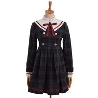 Girls Preppy Lolita Green Plaid Dress Cute Sailor Collor Long Sleeve Bow Dresses
