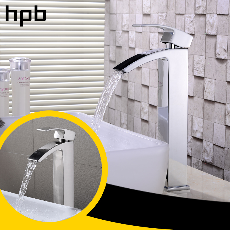 цена на HPB Waterfall Tall Basin Faucet Bathroom Sink Mixer Tap Single Handle Deck Mounted Chrome & Brushed Finish Hot Cold Water HP3B05
