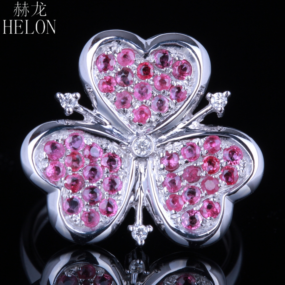 HELON Solid 10K White Gold 1ct Natural Ruby Diamonds Ring Heart Face Engagement Wedding Women Trendy Classic Fine Jewelry Ring helon solid 10k 417 white gold genuine natural diamonds art deco milgrain engagement wedding women trendy fine jewelry ring