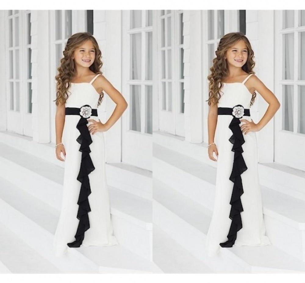 2015-ös kiváló minőségű elefántcsont / fekete junior koszorúslány ruha