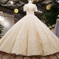 LS12470 2018 Luxury wedding dress o neck ball gown lace up ivory and champagne bridal wedding gowns with long train as photos