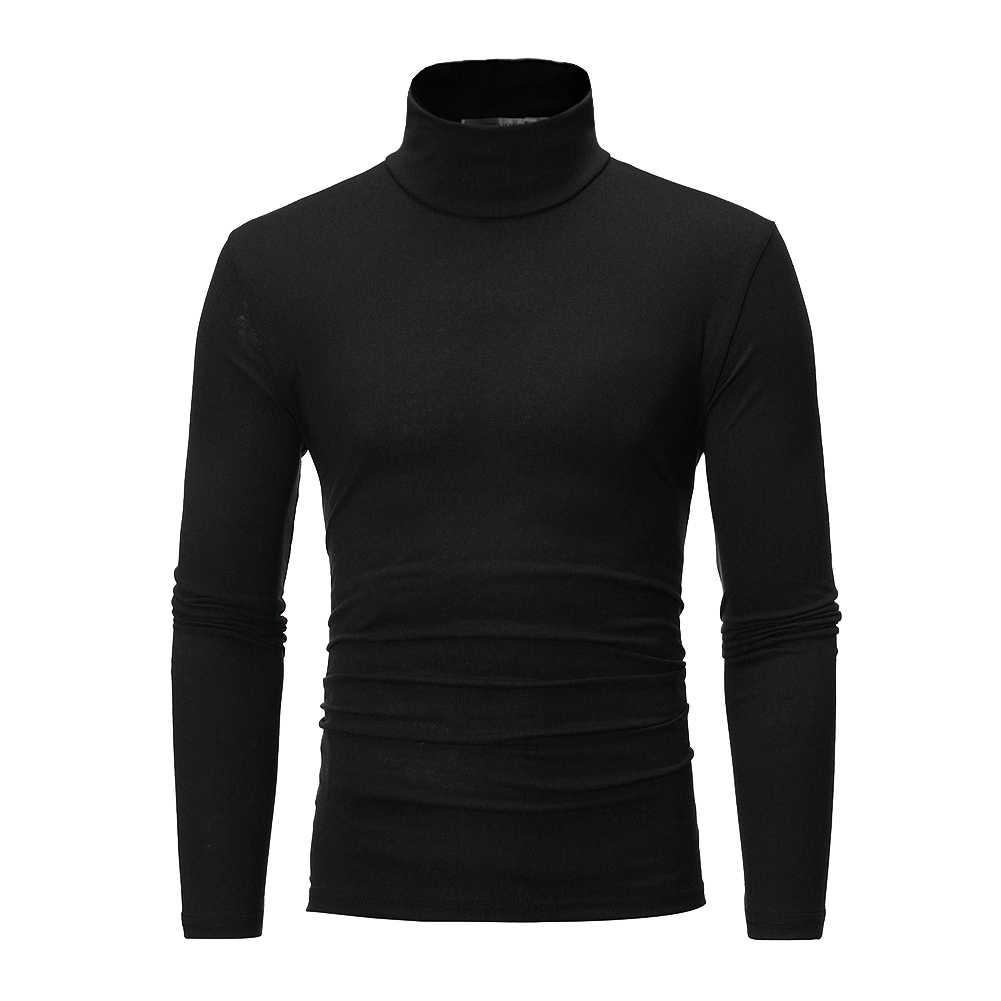 남성 겨울 따뜻한 긴 소매 면화 높은 목 풀오버 스웨터 탑스 터틀넥 영국