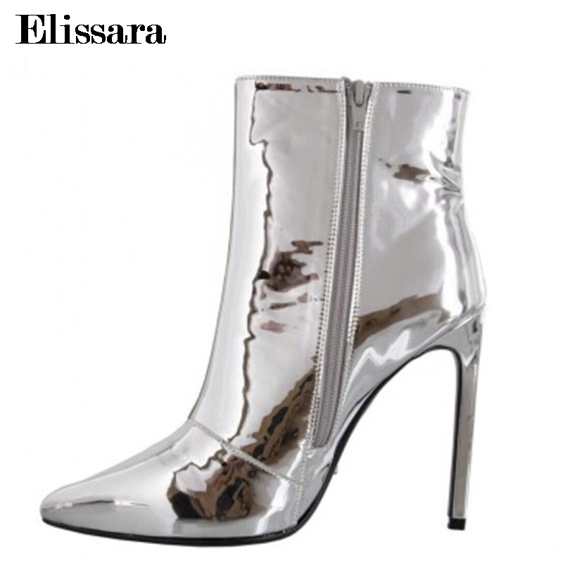 Elissara Women's Winter Boots High Heels Ankle Boots Shoes Fashion Shiny Zip Pointed Toe Party Gold Silver Shoes Plus Size 33-47 elissara women ankle boots women high heels boots ladies zip high quality denim pointed toe shoes plus size 33 43