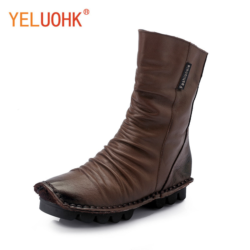 Handmade Genuine Leather Women Winter Boots Platform Winter Women Boots Female Winter Shoes Ankle Boots For Women Big Size autumn and winter new personality retro cowhide ankle boots handsome female waterproof platform genuine leather women shoes 9731