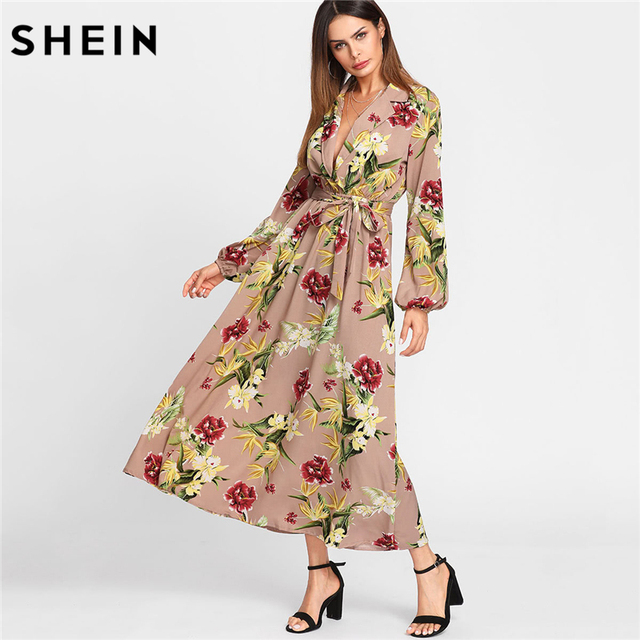 63af6fed3c SHEIN Maxi Dress Women Deep V Neck Multicolor Fit and Flare A Line Dress  Lantern Sleeve
