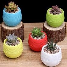 JQWORV Colourful Round Plastic Plant Flower Pots Home Office Decor Planter Decorative Crafts in the bedroom plant pot maceta