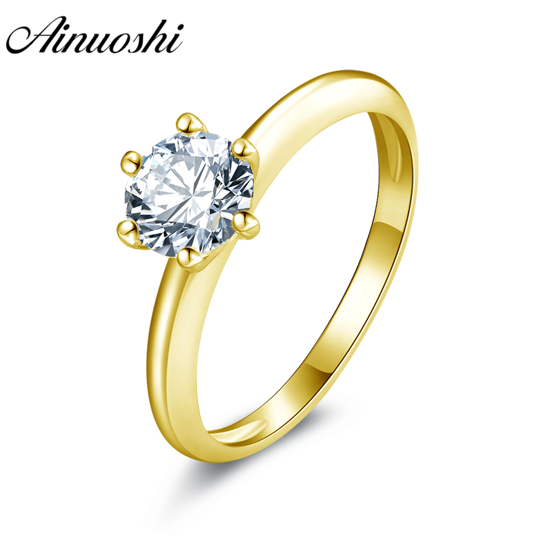 AINUOSHI 10k Solid Yellow Gold Wedding Ring 0.8ct Lover Promise Engagement Band Solitaire Simulated Diamond Bridal Wedding Rings yoursfs® 18k white gold plated 1 2ct simulated diamond promise rings используйте австрийские ювелирные украшения из кристалла
