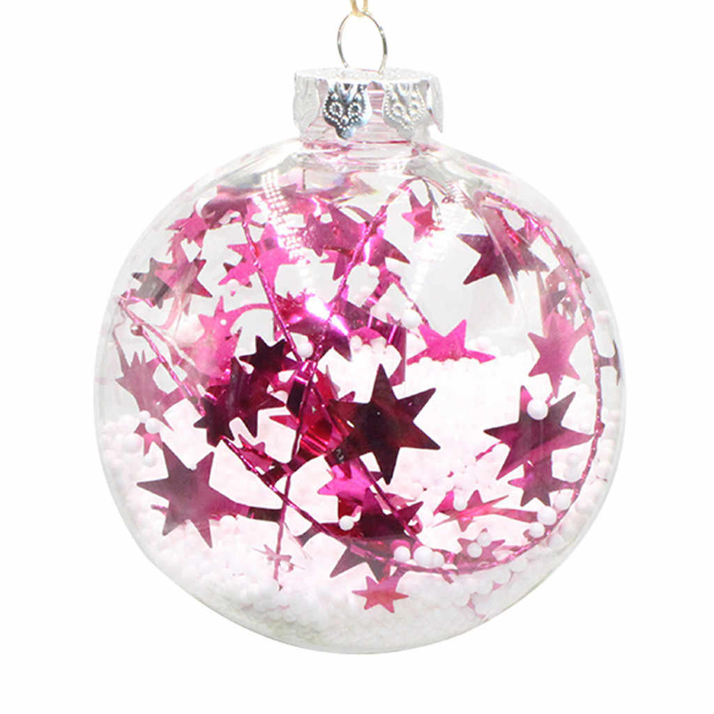 2PCS Christmas Hot Pink Tree Pendant Hanging Home Ornament Christmas Decoration Ball 19Jan23 P40