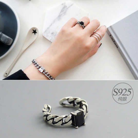 Bijoux Punk Personality 925 Sterling Silver CZ Black Rings For Women Wedding Bohemian Jewelry Vintage Finger Rings Anillos