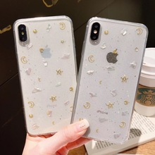 Fashion Glitter Clear Soft Phone Cases For iPhone 7 8 Plus X XR XS Max 6 6S Bling Moon Star Conch Transparent Cover Coque
