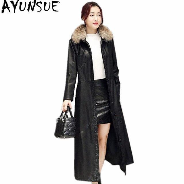 1a2cc72d8f5 AYUNSUE 2018 Women Faux Leather Jacket Fur Collar Slim Elegant Ladies Coats  Women s Windbreaker Long Trench Coat Abrigos WXF189