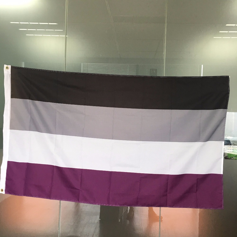LGBT <font><b>Asexual</b></font> Rainbow <font><b>Pride</b></font> 5'x3' Flag- Vivid Color and UV Fade Resistant - Double Stitched - Rainbow Flags Polyester Banner image