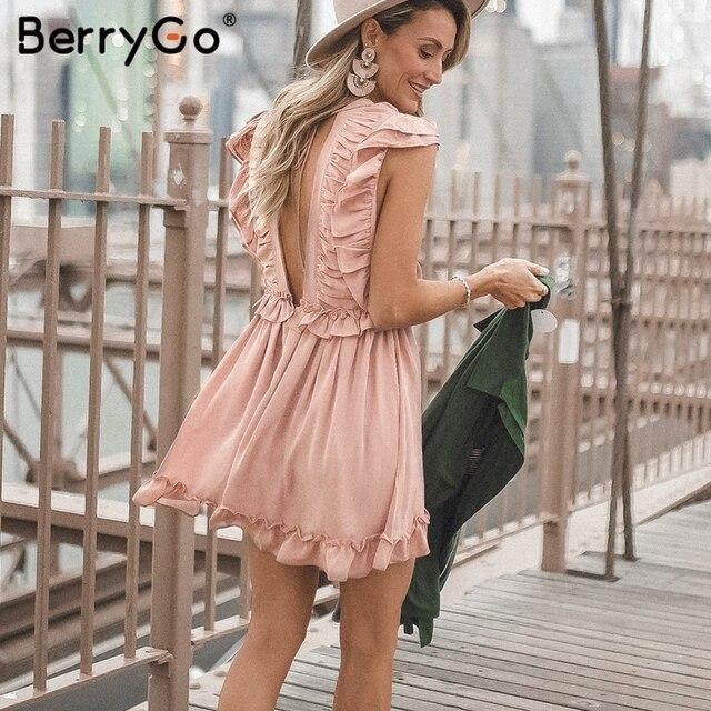 BerryGo Elegant ruffled chiffon women dress Sexy deep v-neck summer dress High waist back lace up lining party dresses vestidos