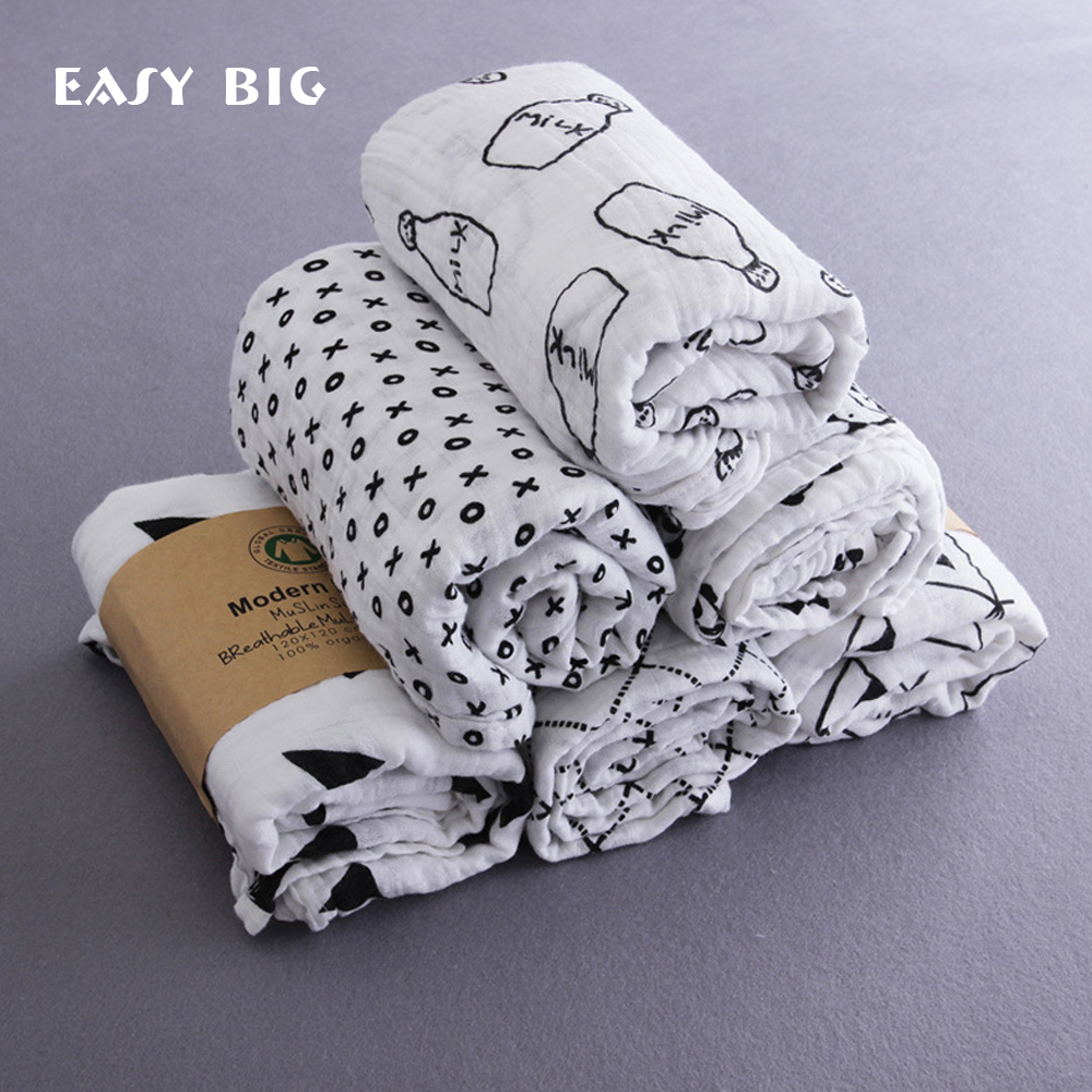 EASY BIG 110*110CM Organic Cotton Muslin Baby Swaddle Blanket Soft Newborn Baby Bath Towel Multi Functions Baby Wrap B0002