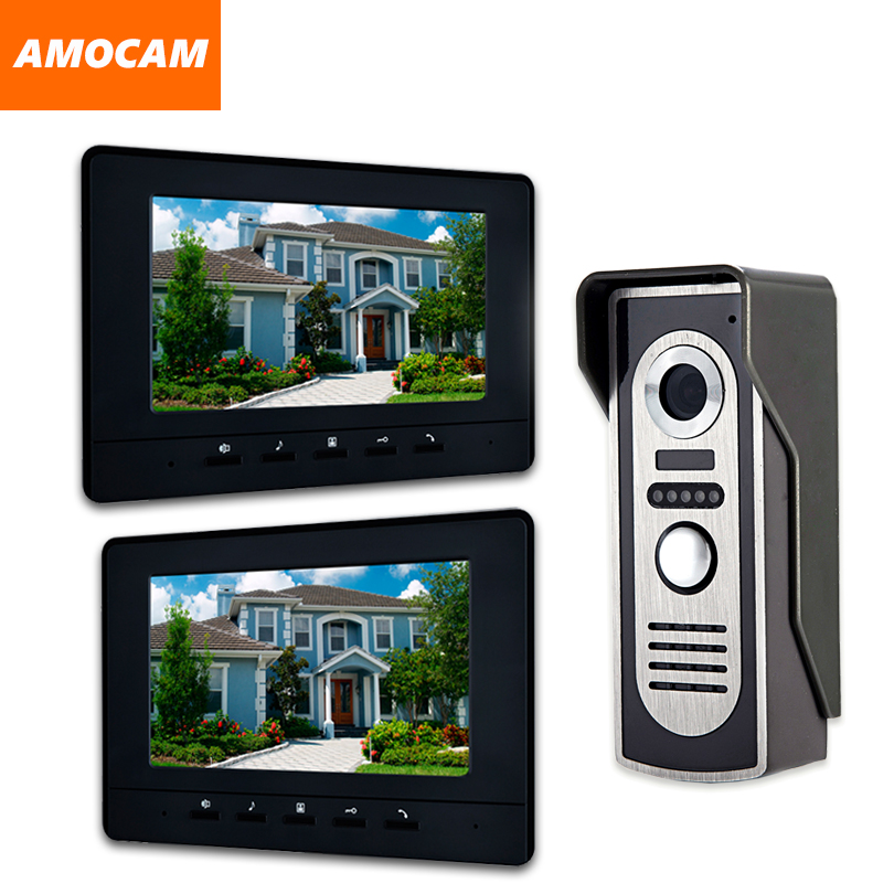 7 Inch Wired video intercom Doorbell System Video Door Phone night vision camera Video Intercom doorphone Kit 2PCS LCD Monitor 7 inch color tft lcd wired video door phone home doorbell intercom camera system with 1 camera 1 monitor support night vision