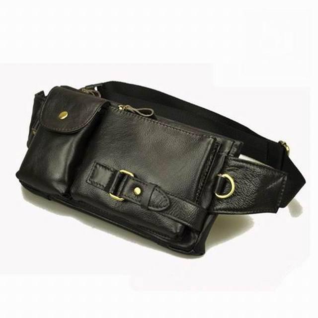 Paquetes de la cintura de la vendimia de las mujeres couro riñonera de cuero genuino hombre de La Manera pequeña bolsa de viaje bolsos de la carpeta para los hombres de la cintura bolsas de cintura
