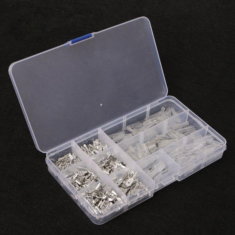 270Pcs Female & Male Spade Connectors Wire Crimp Terminals Set 2.8mm 4.8mm 6.3mm